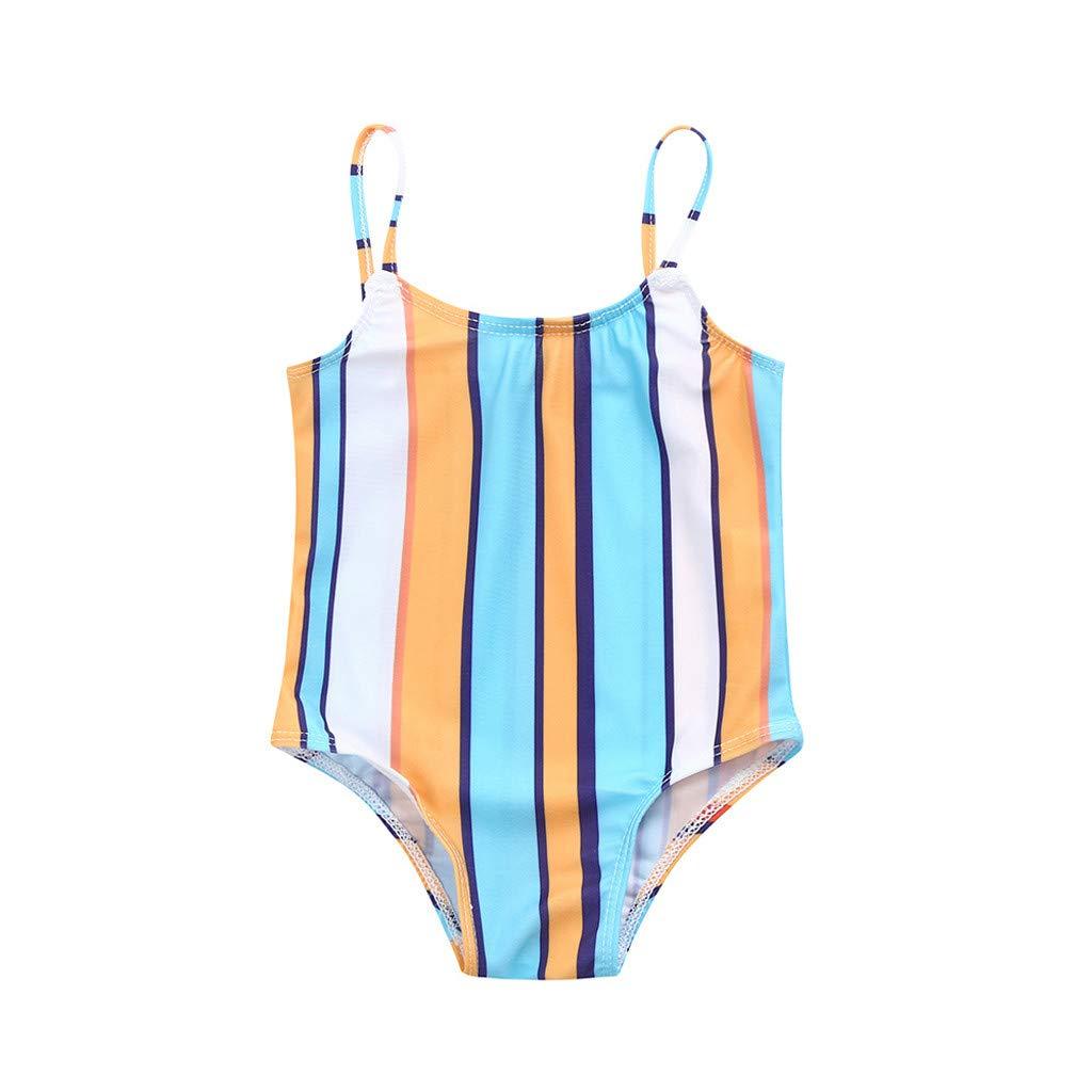 Toddler Baby Girls Infant Swimwear Striped Straps Swimsuit Bikini Set Bathing Cloth Beachwear (100, Multicolor)