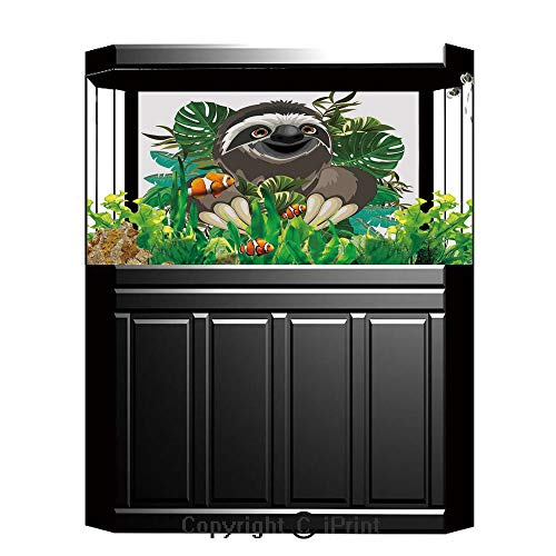 - Terrarium Fish Tank Background,Sloth,Cartoon Mammal on Tropical Jungle with Green Banana Leaves Cute Character Decorative,Chocolate Green Ivory,Photography Backdrop for Pictures Party Decoration,W48.0