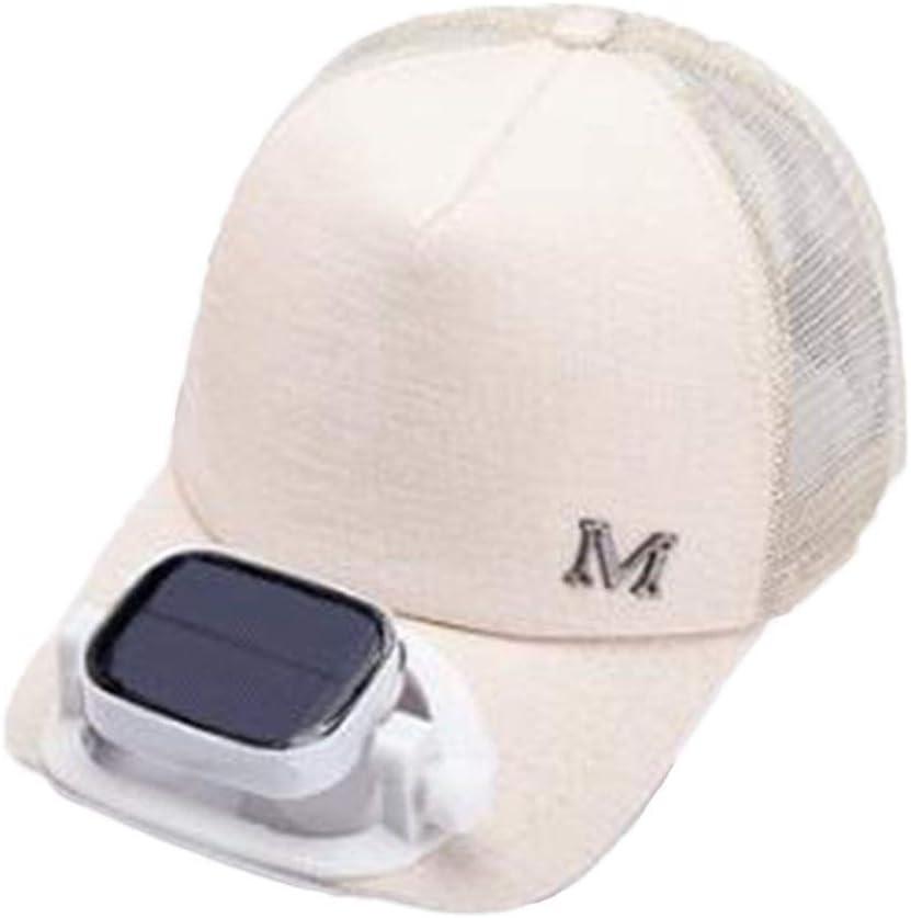 GG- fan cap con Ventilador Solar Sombrero para el Sol Verano Gorra ...