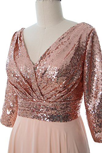Neck Chiffon Formal Black Sequin Wedding Mother 3 MACloth 4 V Gown Dress Women Gold Sleeve CFwnqA4BX