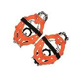 14 Teeth Manganese Steel Crampons Nylon Strap Non-slip Shoes Cover Outdoor Ski Ice Snow Walking Crampon - Orange