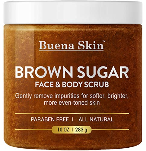 BUENA SKIN Brown Sugar Exfoliating Face & Body Scrub - Reduces the Appearance of Acne Scars, Stretch Marks, Cellulite, and Varicose Veins 10 oz