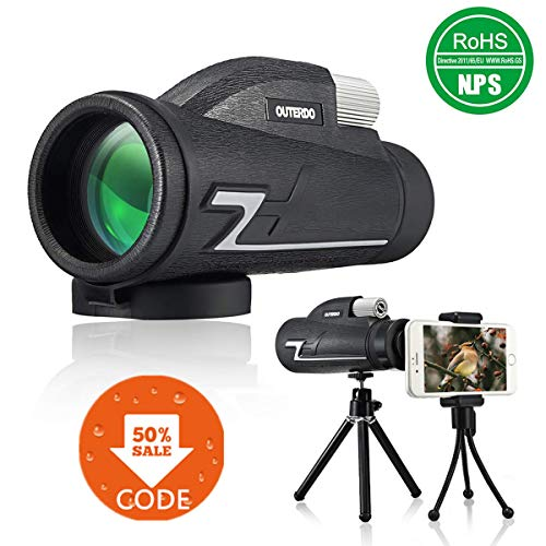 OUTERDO Monocular Telescope, 10 x 42 High Power Monoculars for Phone- Dual Focus- BAK-4 Prism FMC- Waterproof with 2 x Durable Tripods for Bird Watching, Hunting, Camping, Hiking,Outdoor