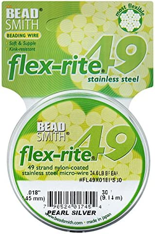 "Pearl Silver Color .014/"" 30 ft Beadsmith Flex-rite 49 Strand Beading Wire"