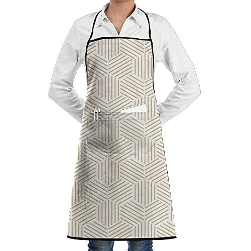 LOGENLIKE Geometric Pattern Kitchen Aprons, Adjustable Classic Barbecue Apron Baker Restaurant Black Bib Apron With Pockets For Men And Women