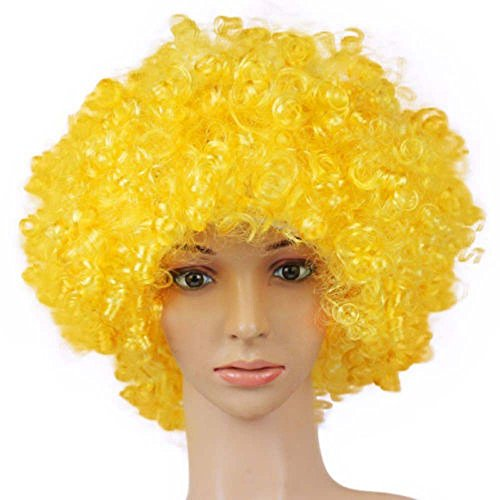 TXIN Halloween Afro Clown Curly Circus Hair Colorful Halloween Costume Wig 70's 80's Retro Disco (Yellow) ()