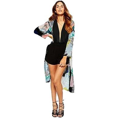 3a14c1af922 TOMATOA Women Boho Chiffon Floral Printed Kimono Cardigan Plus Size Casual  Loose Beach Cover up Beachwear