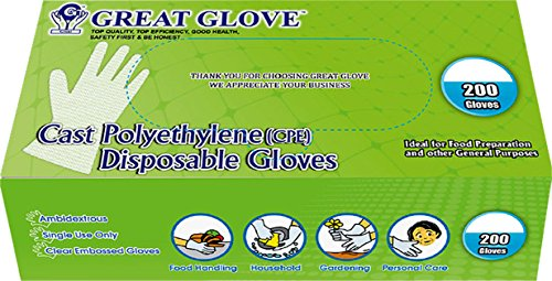 Gloves Poly Clear - GREAT GLOVE CPE200-S-BX Cast Polyethylene (CPE) Food Service Gloves, Latex-Free, FDA 21CFR 170-199 Compliant, Embossed, Small, Clear (Pack of 200)