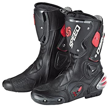 Amazon.com: NEW Men's Motorcycle Racing Boots Black US 10.5 EU 44 ...