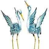 Metal Decorative Crane X2 Japanese Blue Heron Garden Sculpture Set Perfect For Garden Décor - Skroutz Deals