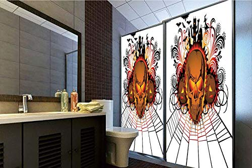 Horrisophie dodo 3D Privacy Window Film No Glue,Halloween Decorations,Angry Skull Face on Bonfire Spirits of Other World Concept Bats Spider Web,Multi,70.86
