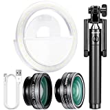 Neewer Cellphone Selfie Clip-on Lens and Light Kit: 3-in-1 Lens Kit, LED Selfie Ring Light with 3 Level Brightness, Extendable Selfie Stick and USB Data 8 Pin Cable for iPhone 7 6S 6S Plus