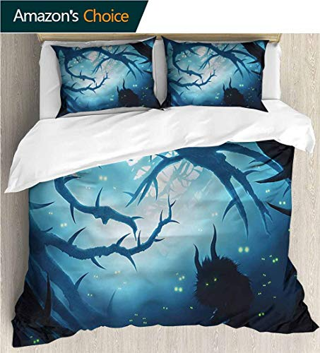 3 Piece Quilt Coverlet Bedspread,Box Stitched,Soft,Breathable,Hypoallergenic,Fade Resistant All Season Lightweight Colorblock Kids Bedding Set-Mystic Night Forest Halloween (68