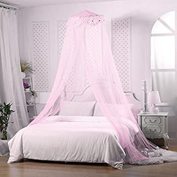 Jeteven Girl Bed Canopy Lace Mosquito Net for Girls Bed, Princess Play Tent  Reading Nook Round Lace Dome Curtains Baby Kids Games House (Pink)
