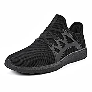 Mxson Men's Casual Sneakers Ultra Lightweight Breathable Mesh Sport Walking Running Shoes, Black, 10 D(M) US