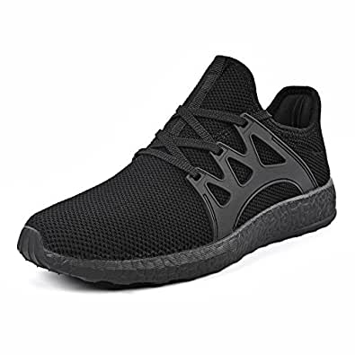Mxson Men's Casual Sneakers Ultra Lightweight Breathable Mesh Sport Walking Running Shoes, Black, 7 D(M) US