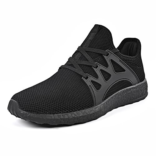 Mxson Men's Casual Sneakers Ultra Lightweight Breathable Mesh Sport Walking Running Shoes, Black, 10.5 D(M) (Black Men Sneakers)
