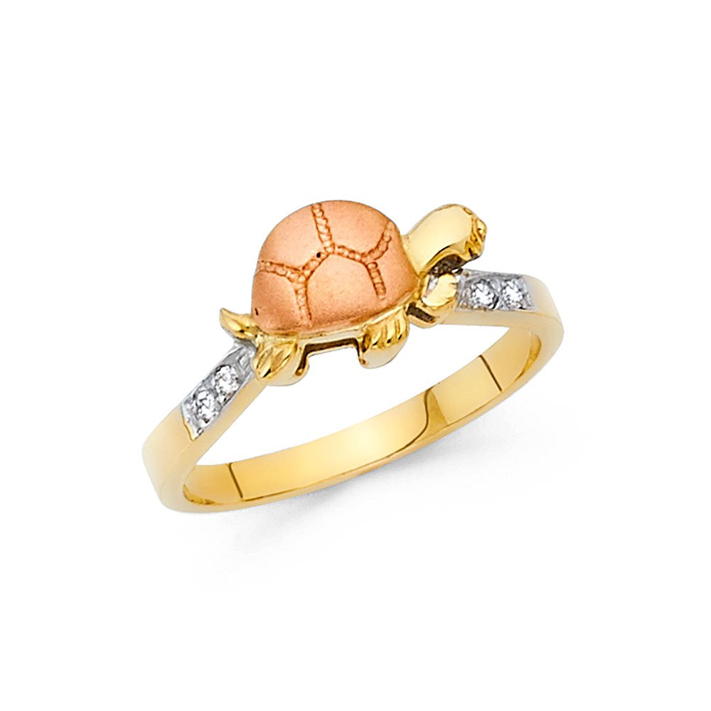14K Solid Yellow Gold Two Tone Cubic Zirconia 8mm Turtle Ring, Size 5.5