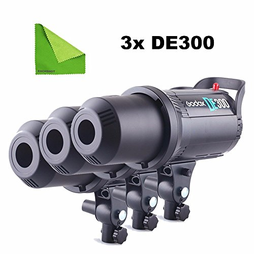 Godox 3pcs DE-300 DE300 110V 300W Compact Flash Strobe Studio Lighting Head Bowens Mount by EACHSHOT
