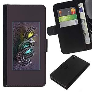 KLONGSHOP // Tirón de la caja Cartera de cuero con ranuras para tarjetas - dragón enciende misteriosa azul amarillo - HTC DESIRE 816 //