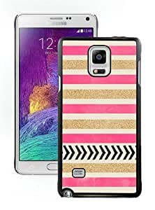 Hot Sale Samsung Galaxy Note 4 Screen Case ,Pink and Gold Stripes Black Samsung Note 4 Cover Unique And Popular Designed Phone Case