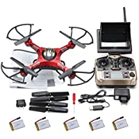 Kingtoys@ Jjrc H8d 4 Channel 2.4ghz Gyro Rc Quadcopter 5.8g Image Transmission Rc Explorers Quad Copter Drone with 2mp Hd Camera FPV Headless Mode+4pcs Free 3.7v 500mah Battery Best Christmas Gifts