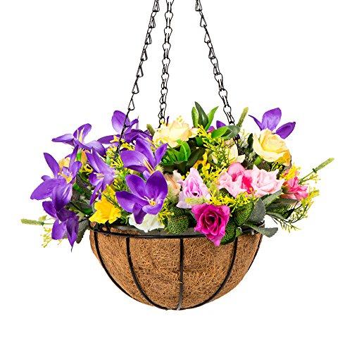 Baskets Outdoor Flower (IBEUTES Artificial Hanging Flower Artificial Rose Vine Silk Flower Garland Hanging Baskets Plants Home Outdoor Wedding Arch Garden Wall Decor Indoor Outdoor Purple Yellow Pink)