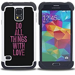 - love things do work purple black message/ H??brido 3in1 Deluxe Impreso duro Soft Alto Impacto caja de la armadura Defender - SHIMIN CAO - For Samsung Galaxy S5 I9600 G9009 G9008V