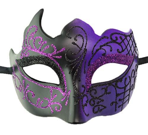 Coolwife Mens Masquerade Mask Vintage Venetian Greek Roman Party Mardi Gras Mask (A Black -