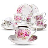 2.8 Ounce Espresso Coffee Cup Set of 6 - Floral Porcelain 80 ML Cups and Saucers Set- Fine Bone China Espresso, Coffee Cups and Saucers Set for Specialty Coffee Drinks, Latte, Cafe Mocha