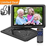 DR. J Professional 14.1 inch 7 Hours Portable DVD Player with Build-in Rechargeable Battery, 270°Swivel Screen, 5.9 ft Car Charger and SD Card Slot, USB Port, Region Free