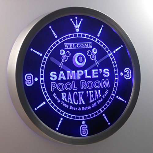 ncpy-tm Pool Room Personalized Your Name Bar Pub Game Neon Sign LED Wall Clock (Pool Neon Clock Room)