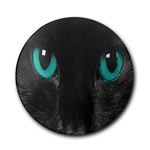 tCoasters For Drinks Absorbent Black Cat With Jade Color Eyes.PNG Interesting Ceramic With Cork Coasters For Home Office Bar Coffee (Jade Coaster)