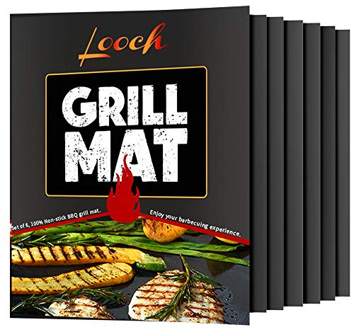 Non Stick Bbq Grill - Looch Grill Mat Set of 6- 100% Non-stick BBQ Grill & Baking Mats - FDA-Approved, PFOA Free, Reusable and Easy to Clean - Works on Gas, Charcoal, Electric Grill and More - 15.75 x 13 Inch