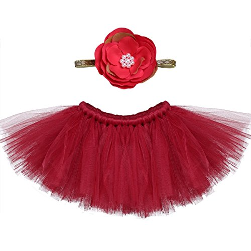 - TiaoBug Baby Girls Tutu Skirt Dress Flower Headband Set For Photography Prop Burgundy One Size