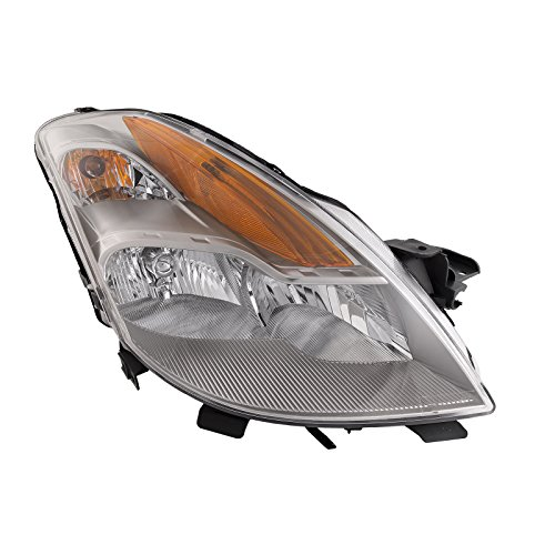 HEADLIGHTSDEPOT Chrome Housing Halogen Headlight Compatible with Nissan Altima 2-Door Coupe 2008-2009 Includes Right Passenger Side Headlamp