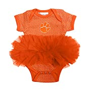 Clemson Tigers Newborn Infant Polka Dot Tutu Creeper Bodysuit (0-3 Months)