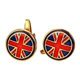 Cool The Union Jack Flag Cufflinks For Men 1 Pair Set 18K Gold Plated Shirt Accessories Red Enamel Round Cuff Links