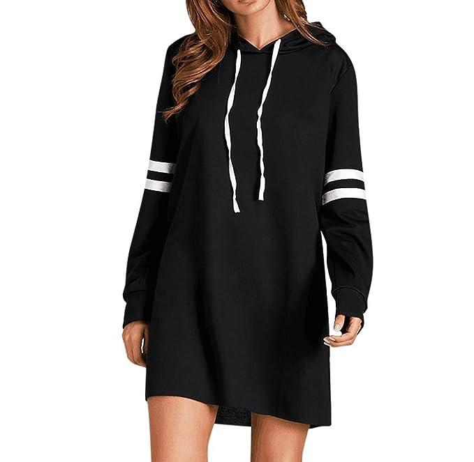 Vestido Sudadera con Capucha para Mujeres, Holacha Romper Vestido de Manga Larga Casual Negro (