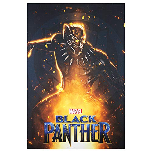 "- Officially Licensed Marvel Comics Black Panther Movie Poster Wrapped Canvas Wall Art (36"" H x 24"" L)"
