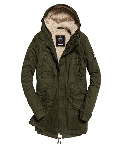 Superdry Mens New Military Parka Jacket, Green
