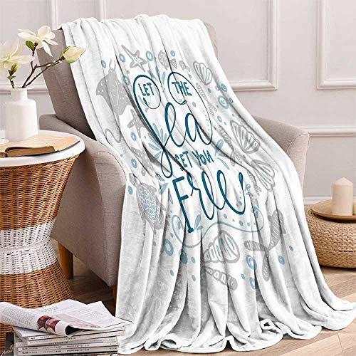 maisi Nautical Digital Printing Blanket Let The Sea Set You Free Quote with Shellfish Turtle and Stingray Summer Quilt Comforter 62