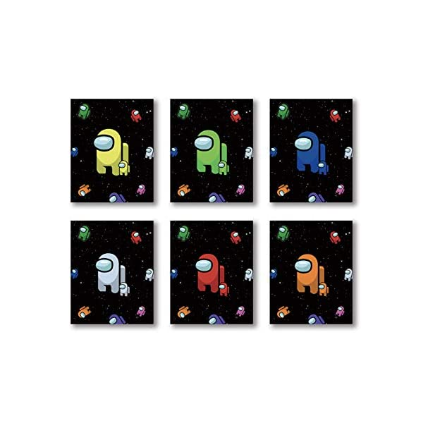 Cartoon Among Us Gifts Merch Video Game Poster Art Painting Set Of 6 8x10 Inches Wall Art Decor Canvas Print For Gamer Gaming Room Decoration Nursery Children Boy Room Home Decor Frameless