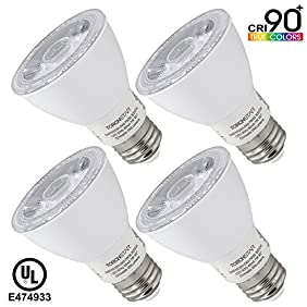 TORCHSTAR #Wet Location# Dimmable PAR20 LED Light Bulb, High CRI90+, 7W (50W Equivalent), 3000K Warm White, 550Lm, E26 Medium Base, 3 YEARS WARRANTY, Pack of 4