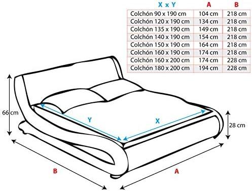 muebles bonitos Cama de Matrimonio de Polipiel Moderna Alessia para colchón de 120 x 190 cm Blanco con somier de Laminas Incluido