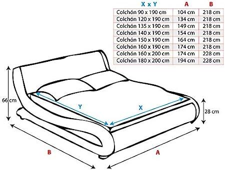 muebles bonitos Cama de Matrimonio de Polipiel Moderna Alessia para colchón de 135 x 190 cm Blanco con somier de Laminas Incluido