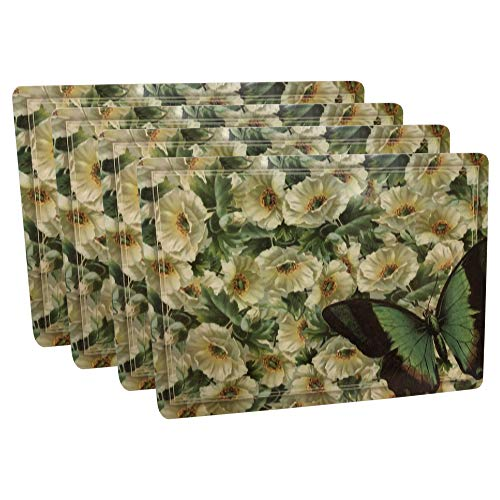 - Rainy Dog Hard Placemats Cork Backed Hard Fiberboard Hardboard Mat Nature Scene Botanical Flower and Butterfly Board Placemat Kitchen for Dining Place Table Mats Set of 4 Large Thick 11.8 by 15.7