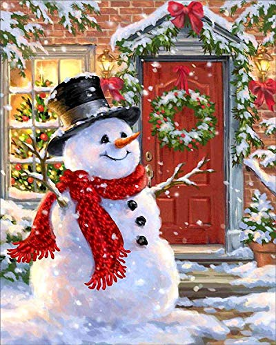Diy Oil Painting Paint By Number Kit For Adult Kids -16X20 Inch,Christmas Wreath Snowman -