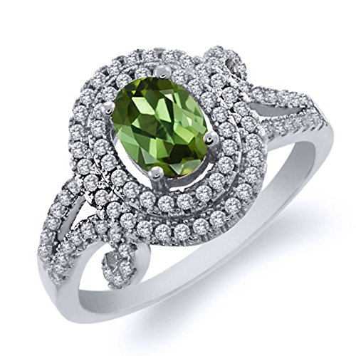 2.10 Ct Oval Green Tourmaline 925 Sterling Silver Ring