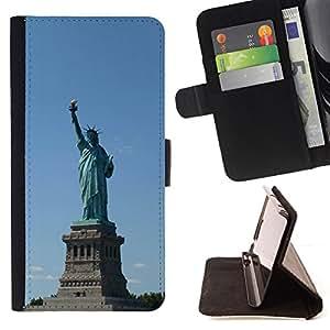 BullDog Case - FOR/Samsung Galaxy A3 / - / Architecture Statue Of Liberty /- Monedero de cuero de la PU Llevar cubierta de la caja con el ID Credit Card Slots Flip funda de cuer